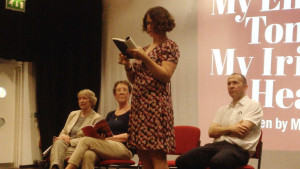Annette Sills and other participants of the writers workshops provided readings at a screening of My English Tongue, My Irish Heart at Z-Arts in July 2015.